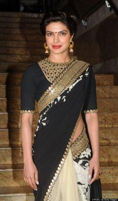 Priyanka Chopra Goes Bollywood Glam In Black And Gold Saree (PHOTOS) Bollywood Designer Sarees, Bollywood Fashion, Saree Fashion, Indian Dresses, Indian Outfits, Priyanka Chopra Saree, Sonam Kapoor, Deepika Padukone, Modern Sari