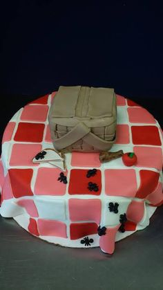 Picnic basket cake with ants for a kid's birthday