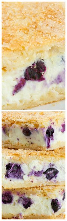 Sopapilla Blueberry Cheesecake Bars ~ Easy and delicious. Yummy layers of crescent rolls, cream cheese and crunchy buttery sugar topping with fresh blueberries (Crescent Roll Breakfast Recipes) Chocolate Desserts, Fun Desserts, Delicious Desserts, Dessert Recipes, Yummy Food, Breakfast Recipes, Blueberry Cheesecake Bars, Sopapilla Cheesecake, Cheesecake Recipes