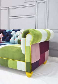 Get inspired by patchwork sofa! View more texture inspirations at http://www.brabbu.com/en/inspiration-and-ideas/