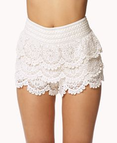 Tiered Crochet Lace Shorts | FOREVER21 - 2053874845