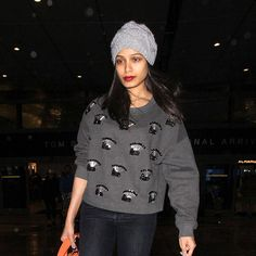 Freida Pinto from The Big Picture: Today's Hot Photos Casual cool! The actress is seen braving the weather as she arrives to LAX. Freida Pinto, Grey Beanie, Knit Beanie, Celebrity Updates, Photo Checks, Winter Dresses, Hottest Photos, Dress Me Up, Indian Outfits