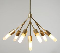Seven Globe Bulbs Chandelier | From a unique collection of antique and modern chandeliers and pendants  at https://www.1stdibs.com/furniture/lighting/chandeliers-pendant-lights/