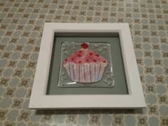 Fused glass cupcake with Annie Sloan duck egg blue painted box frame handmade by me January  2016