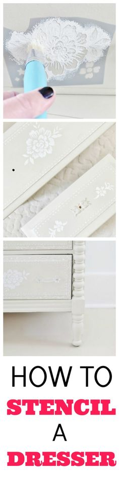 Have a yard sale piece that needs a project? Why not stencil it? Here's a simple tutorial on how to stencil wood with step-by-step instructions. Burlap Projects, Diy Projects, Project Ideas, Farmhouse Decor, Farmhouse Ideas, Farmhouse Design, Country Decor, Modern Farmhouse, Stencil Wood