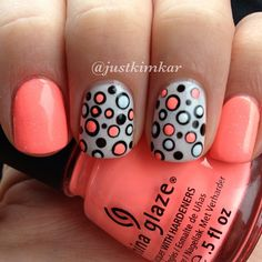 Gorgeous peach with grey and polka dots.  Love!!