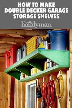 How to Make Double Decker Garage Storage Shelves - Organizer Shelves - Ideas of. How to Make Double Decker Garage Storage Shelves – Organizer Shelves – Ideas of Organizer Shel Diy Storage Shelves, Garage Shelving, Garage Shelf, Storage Ideas, Garage Storage Inspiration, Easy Garage Storage, Garage Entryway, Barn Storage, Tool Storage