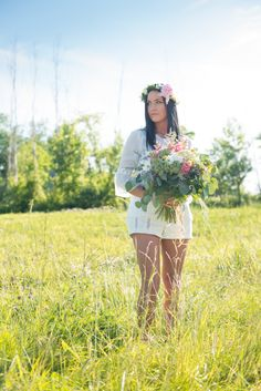 Boho Chic: Featured on Vineyard Bride: photo cred Love Always Photography  flower crown wedding boho rustic backyard bouquet hippy bride engagement  #oohlaladesigns