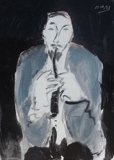 """Man with a Clarinet""  Gigi Mills  7""x5"" Oil on Bookboard  Framed with a Gold Chunky to make 15""x13"""