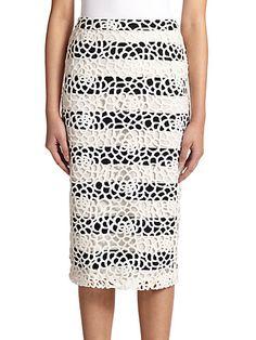 A.L.C. - Della Lace-Overlay Striped Pencil Skirt