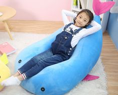 QuWei Bean Bags Chair Cartoon Fish DIY Comfortable Mini Sofa Indoor/Outdoor Soft Floor CushionSmall blue >>> Click image to review more details. (This is an affiliate link) #comfortablechair