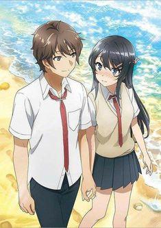 Seishun Buta Yarou wa Bunny Girl Senpai no Yume wo Minai Couple Amour Anime, Anime Love Couple, Manga Couple, Manga Kawaii, Kawaii Anime Girl, Anime Girls, Otaku Anime, Manga Anime, Mai Sakurajima