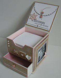 Boite en carton (2mm) avec un tiroir - tutoriel Cardboard Box Crafts, 3d Paper Crafts, Vinyl Crafts, Diy And Crafts, Diy Gift Box, Diy Gifts, Cardboard Wardrobe, Post It Holder, Cadeau Surprise