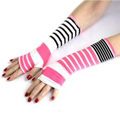 SUPER SALE Black and Pink Stripes Fingerless Spring gloves from Soft Silky Fabric - Yoga Belly Dance Fusion Light Goth Cycling ($12) found on Polyvore