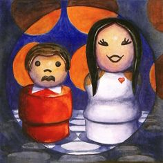 """I Got You, Babe"" 5"" x 5"" - watercolor on paper  This one is a little twist on my typical Fisher Price paintings: a tribute to the old Sonny & Cher Show.  http://www.dailypaintworks.com/Artists/kara-k-bigda-394"