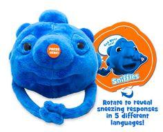 Sniffles has sneezing responses in 5 different languages $14.95