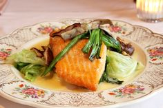 Pan roasted Scottish salmon with local farm cabbage and spring onions in a tarragon beurre fondue.  One of our most popular dishes served at the restaurant.