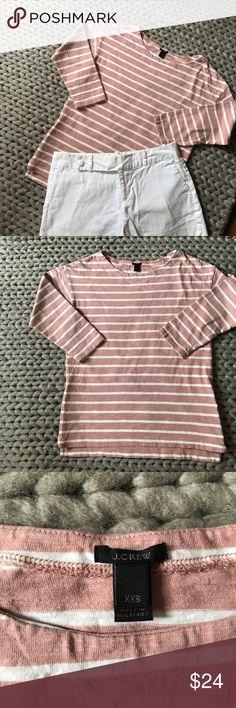 ✨J. Crew✨ Cotton 3/4 Sleeve w. Zipper Detail ✨J. Crew✨ Cotton 3/4 Sleeve w. Zipper Detail. Blush pink and white stripes. Zipper detail on bottom side seams. 100% cotton. Excellent condition! J. Crew Tops
