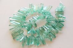 Beads Natural Clear Quartz Rock Crystal Point Beads Blue Coatting Gem Quartz Point Beads 3strings16inch Fine Craftsmanship