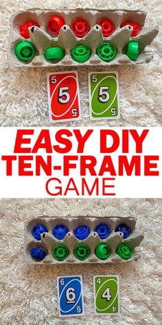 Math games 429601251953462836 - DIY Easter Ten-Frame Game – HAPPY TODDLER PLAYTIME Ten-Frames are an amazing math tool for visualizing numbers. Check out this easy DIY Ten-Frame Game for kindergartners! Preschool Learning, Kindergarten Activities, Teaching Math, Preschool Math Games, Number Sense Kindergarten, Montessori Preschool, Montessori Elementary, Teaching Tools, Learning Activities