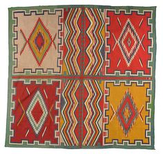 Navajo Germantown Six Panel Weaving - Germantown Navajo blankets are called such because the great yarn (3 or 4 ply) came from Germantown, Pennsylvenia -