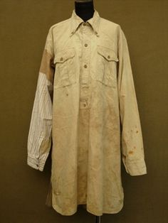 cir. 1930's patched cotton shirt - ヨーロッパ古着店 「Mindbenders」