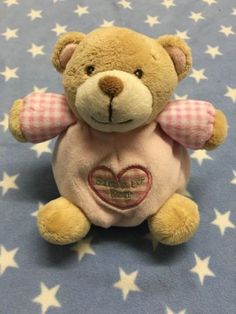Keel toys pink #babys first 1st bear teddy #rattle soft #plush comforter toy,  View more on the LINK: http://www.zeppy.io/product/gb/2/391666787899/