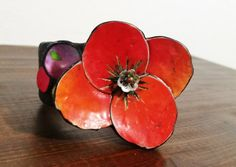 Polymer clay Poppies and wildflowers bracelet by ImpastArte