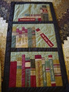 Custom Made Bookshelf Wh Quilt - like the use of stripes on book spines