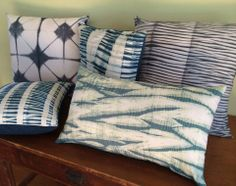 Decorative Shibori Pillows by Cape Cod Shibori https://www.etsy.com/shop/CapeCodShibori