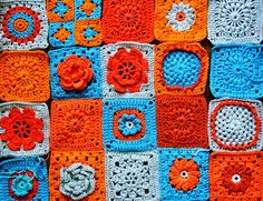 orange and blue blanket