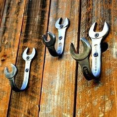 Bend wrenches into hooks, and you'll make a spot for other tools to hang out. Whether you dangle hammers and saws in the garage, or pots and pans in the kitchen, you'll stop wrenching your back lifting them up from below.