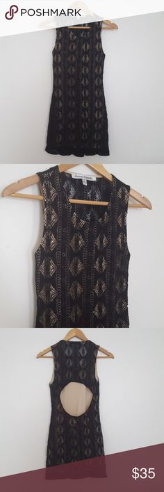 """Lovers + Friends Black Lace Sway Sleeveless Dress Sleeveless Lovers & Friends from Revolve black lace sway bodycon stretchy dress with a beige liner and cutout back. Above the cutout in back, the back is sheer lace with no liner. 33"""" length and 15"""" across the bust. Size S small. Lovers + Friends Dresses Backless"""