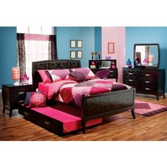 Shop for a Belle Noir Dark Merlot 5 Pc Twin Bedroom at Rooms To Go Kids. Find that will look great in your home and complement the rest of your furniture. Teen Bedroom Sets, Black Bedroom Sets, Big Girl Bedrooms, Home Bedroom, Kids Bedroom, Bedroom Decor, Bedroom Ideas, Girl Rooms, Dream Bedroom