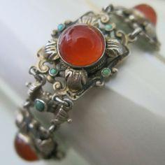 -Antique Victorian Silver Carnelian bracelet, Austro Hungarian
