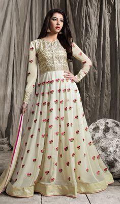 Awesome Off White Color Silk Georgette Designer Anarkali Suit