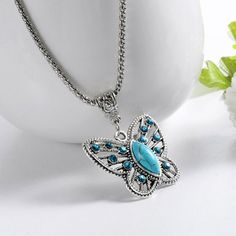 Check out Special Butterfly, Natrual Turquoise Stone Necklaces, Silver Pendant Accessories for Women, Clothing Women's, Vintage Style, gift for her on melindajewelrystore