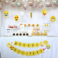 Emoji Themed Teen Birthday Party via Kara's Party Ideas Birthday Party For Teens, Teen Birthday, Happy Birthday Banners, Birthday Party Themes, Teen Party Themes, Emoji Theme Party, Party Ideas, Fun Ideas, Instagram Emoji