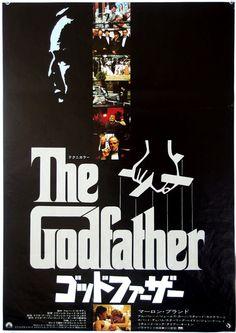 El Padrino.  Cartel de película de la vendimia.  1974. lanzamiento original.  Tamaño B2.  Delito.  Drama.  Francis Ford Coppola.  Marlon Brando.
