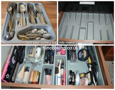 Turn your cutlery tray into makeup organizer! Ladies will understand! :) Check the hack here: https://funcooking.co.uk/quick-tips/turn-cutlery-tray-make... - Dmitri Kara - Google+