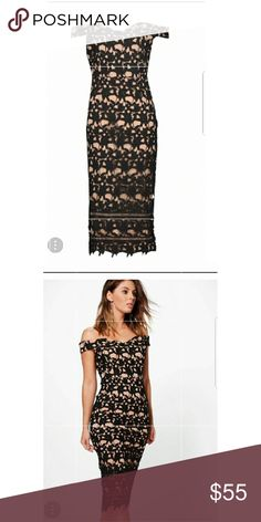 Brand new boutique crochet off shoulder midi dress Beautiful off shoulder dress from boohoo. Originally $70. This is a new dress in size 8 but fits a medium-sized individual. Boohoo Dresses Midi