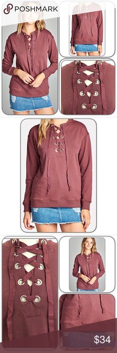 Cozy Soft Marsala Lace Up Top S/M Premium soft marsala lace up front sweatshirt inspired top. Perfect casual day, weekend wear or date nite piece. You will not want to take off!!!  Love the cozy flattering fit. MADE IN USA - 65% polyester-33% cotton-2% spandex. French terry lined. True to size with stretch.   SIZE CHART Small (Will fit Med) 2-4-6 Bust 32-34-36 Length 26 Tops