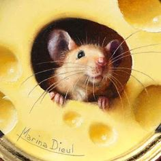 "Marina Dieul: ""Say cheese!"" Detail of a trompe-l'oeil of a little mouse peeking through a cheese hole. Miniature oil painting."