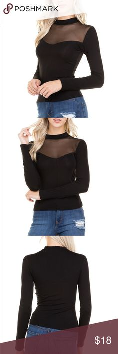 Black Peek a Boo Top This black long sleeve top has a mesh see-through detail at the neck and choker collar appearance. Stretchy material 60% cotton, 35% rayon, 5% spandex. The sizes are actually s, m, l but fit like an XS, S, M!! They are marked below how they fit!! (If you wear a medium, you would order the medium). Tops Tees - Long Sleeve