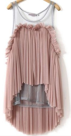 sheer yoke pleated top
