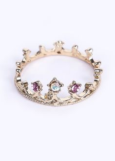 Purple Diamond Gold Imperial Crown Ring