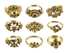 Nine Diamond Rings from a Convent - what stories could they tell?Nine Diamond Rings from a Convent Date: late 17th–18th century Culture: Spanish Medium: Gold and diamonds Classification: Metalwork-Gold Credit Line: Griffin Collection