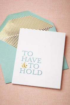 """""""To Have & To Hold"""" Card by Sugar Paper From BHLDN.com"""