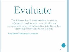 """This tutorial introduces the concept of Information Literacy especially as it pertains to students in higher education and focuses on defining this concept and explaining the 5 standards created by the ACRL to define the """"Information Literate"""" student."""