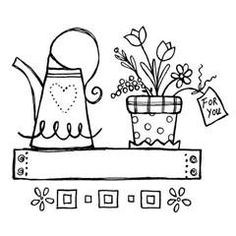 A garden shelf with a tag for you rubber stamp 1-3/4 X 2 E446 Available mounted on wood or un-mounted on Cling